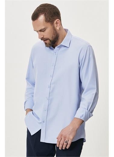 Altınyıldız Classics Regular Fit Bol Kesim Klasik Gömlek Yaka Armürlü Gömlek 4A2021200042 Mavi